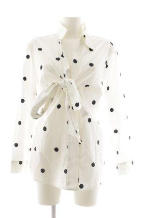 Madeleine Langarm-Bluse weiß-schwarz Punktemuster klassischer Stil