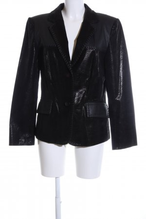 Madeleine Leather Blazer black animal pattern business style
