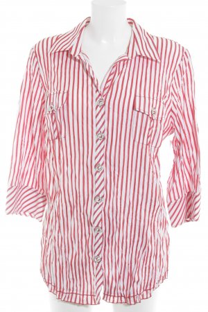 Madeleine Long-Bluse rot-weiß Streifenmuster Casual-Look