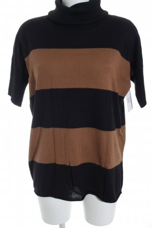 Madeleine Pull-over à col roulé brun-noir style simple