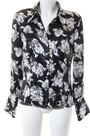 Madeleine Seidenbluse schwarz-weiß florales Muster Elegant