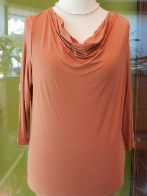 Madeleine Cowl-Neck Shirt dark orange-bronze-colored