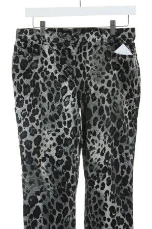 Madeleine Slim jeans zwart-grijs luipaardprint casual uitstraling