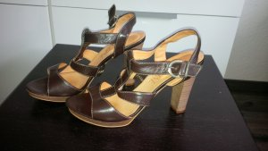 Madeleine T-Strap Sandals dark brown leather