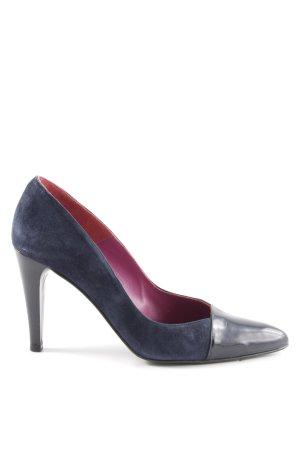 Madeleine Spitz-Pumps blau-schwarz Business-Look