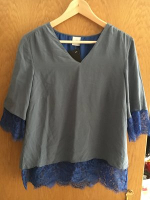 MADELEINE Spitzenbluse grau/blau Obermaterial 100% Seide