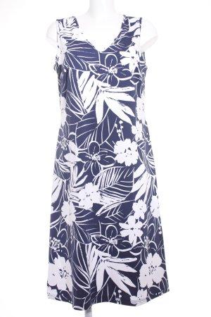 Madeleine Stretchkleid weiß-dunkelblau Blumenmuster Casual-Look