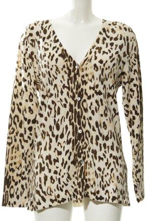 Madeleine Strickjacke hellbeige-dunkelbraun Leomuster Street-Fashion-Look