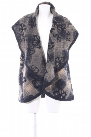 Madeleine Knitted Vest beige-dark blue flower pattern fluffy