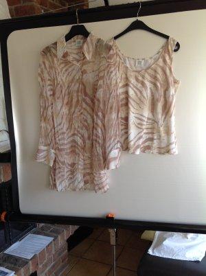 Madeleine transparente Bluse und Top beige taupe gemustert Gr. 44