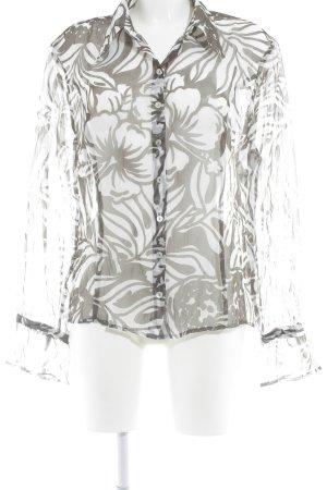 Madeleine Transparenz-Bluse weiß-khaki florales Muster extravaganter Stil