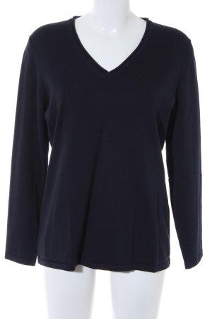Madeleine V-Ausschnitt-Pullover dunkelblau minimalistischer Stil