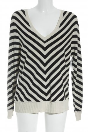 Madeleine V-Neck Sweater black-natural white striped pattern casual look