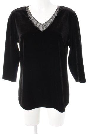 Madeleine V-Ausschnitt-Shirt schwarz Samt-Optik