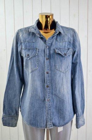 MADEWELL Damen Jeanshemd Hemd Bluse Denim Blau Baumwolle Druckknopf Gr.L