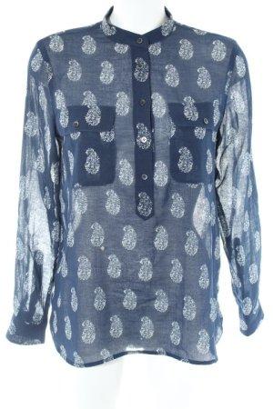 Madewell Langarmhemd dunkelblau-weiß Paisleymuster Casual-Look