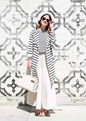 Madewell Trench nero-bianco sporco motivo a righe stile casual
