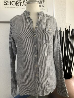 Maison Scotch Blusa de lino blanco-azul oscuro