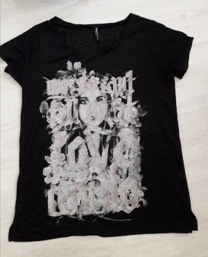 Madonna: schwarzes Shirt mit Druck Größe 38