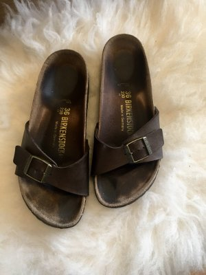 Birkenstock Sandals bronze-colored leather