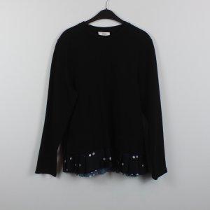 MADS NORGAARD Sweatshirt Gr. L schwarz Plisseebesatz gepunktet (18/11/157)