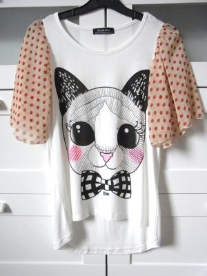 Madstone Niedliches Katzen Shirt mit Fledermaus Chiffon Ärmel Gr. S 36 34