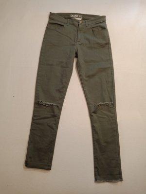 "Mädchen Jeans ""Skinny Fit"" von H&M Gr. 164, olivgrün, mit Used-Details"