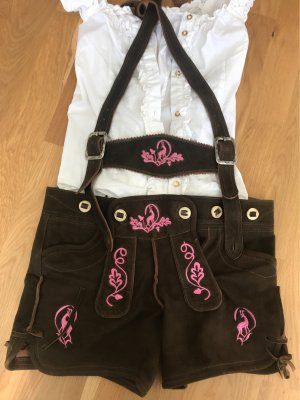 Original Steindl Traditional Leather Trousers dark brown-pink
