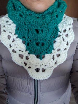 Crochet Scarf white-cadet blue