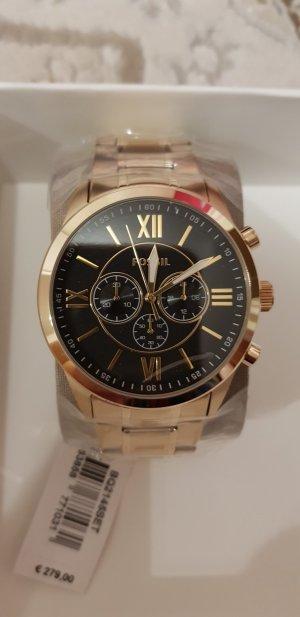 männer Uhr fossil Gold Schwarz neu mit Etikett