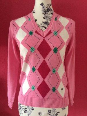 März Classic rosa Rautenpulli aus reiner Baumwolle