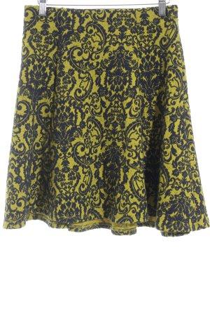 Maeve Jupe skater jaune-bleu foncé motif embelli style décontracté