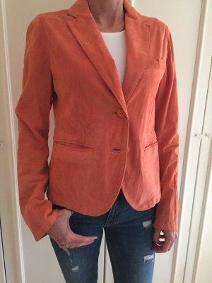 MAFFEI Leder-Blazer Orange Leder-Jacke Leather Jacket Terracotta S it 42 NEU