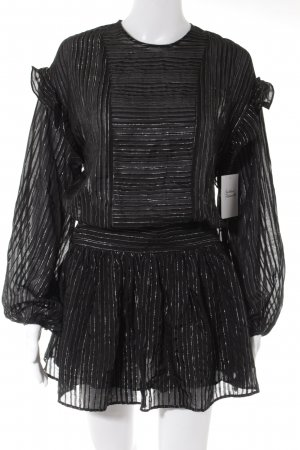 Magali Pascal Langarmkleid schwarz Streifenmuster Romantik-Look