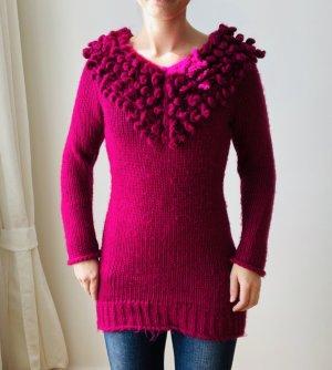 Beauty Women Coarse Knitted Sweater magenta