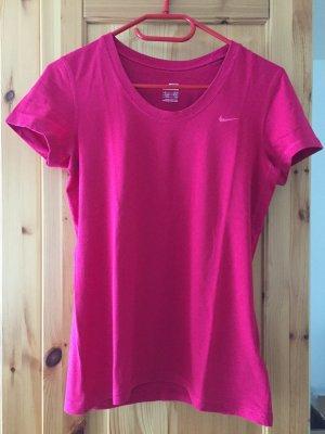 Magentafarbenes T-Shirt von Nike in Größe S