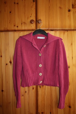 Zara Coarse Knitted Jacket magenta cotton