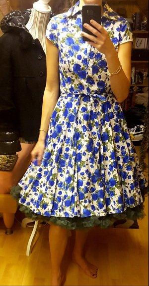 Maggi Tang Rockabilly 50er 60er Kleid blau grün 36 Baumwolle ungetragen Blumen