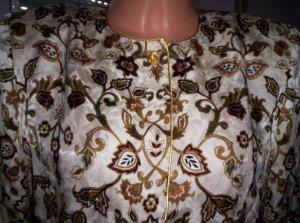 MAGGY LONDON  Seidenbluse, sehr elegant, creme-braun-beige-gold, Gr. 38/40