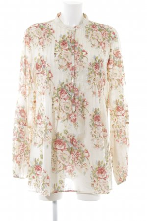 Magic Woman Long-Bluse creme-ziegelrot Blumenmuster Gypsy-Look