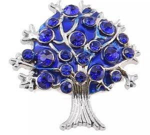 Magnetbrosche Brosche Baum silber blau Strass Damen Schmuck