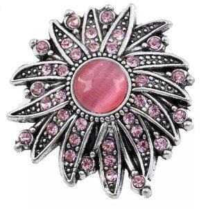 Magnetbrosche Brosche Blume silber rosa pink Strass Damen Schmuck