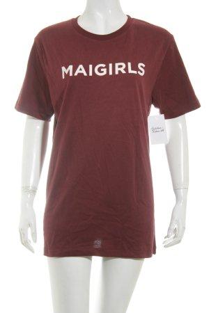 Mai piu senza T-Shirt bordeauxrot-rosé Schriftzug gedruckt Casual-Look