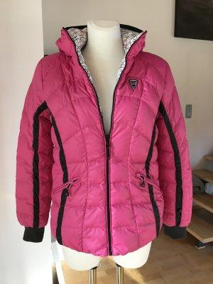 Maier Sports Skijacke Pink Wendejacke Daunenjacke mit Kapuze weiß Muster