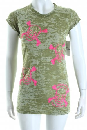 Maison Espin T-Shirt olive green-neon pink themed print casual look