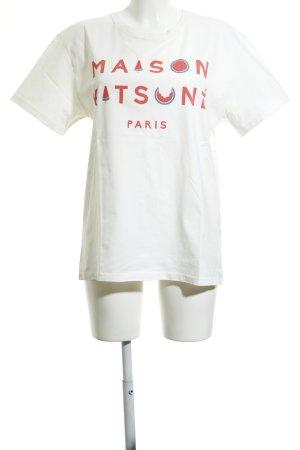 Maison Kitsuné Print-Shirt weiß-hellrot Motivdruck Casual-Look