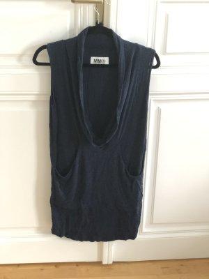 Maison Margiela dunkelblaues Kleid mit Wasserfallkragen