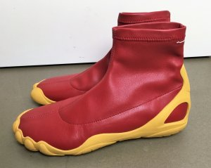 """* MAISON MARTIN MARGIELA  MM6 """" NEU ! SOCK SNEAKERS TOE BOOTIES ZEHEN Stiefeletten Scuba Boots Leder rot gelb Gr 37"""
