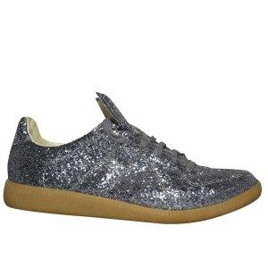 Maison Martin Margiela Sneakers aus Leder, Glitter, Silber Gr. 37