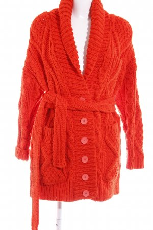 Maison Martin Margiela Strick Cardigan rot Zopfmuster Street-Fashion-Look